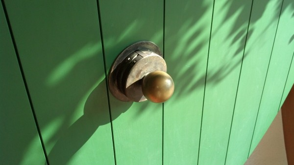 The brass knob in the center of a green door.