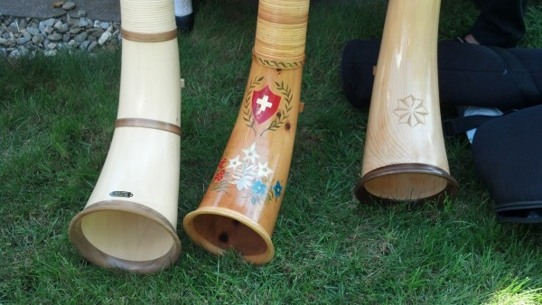 Beautifully decorated Alphorns.