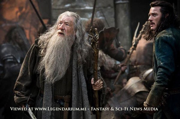 """IAN McKELLEN as Gandalf and LUKE EVANS as Bard in the fantasy adventure """"THE HOBBIT: THE BATTLE OF THE FIVE ARMIES,"""" a production of New Line Cinema and Metro-Goldwyn-Mayer Pictures (MGM), released by Warner Bros. Pictures and MGM. Photo by Mark Pokorny"""